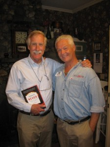 Tad Daley with Maine's newest U.S. Senator, Angus King -- holding a copy of APOCALYPSE NEVER!